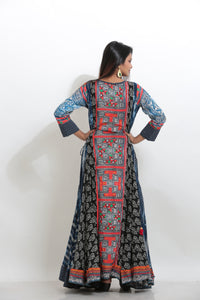MULTICOLORED PRINTED INDO-WESTERN LONG KURTI