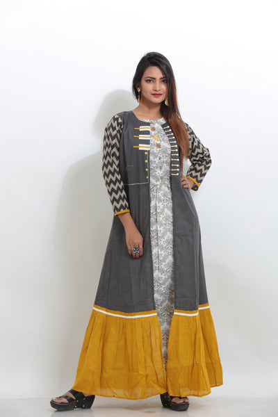 MULTICOLORED LONG INDO-WESTERN JACKET KURTI