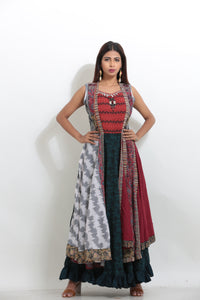 MULTICOLORED MULTILAYRED CHIFFON PRINTED LONG INDO-WESTERN KURTI