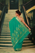 Load image into Gallery viewer, SEA GREEN COLOUR SILK HANDLOOM WITH GOLDEN ZARI WEAVING WORK