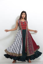 Load image into Gallery viewer, MULTICOLORED MULTILAYRED CHIFFON PRINTED LONG INDO-WESTERN KURTI