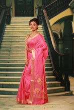 Load image into Gallery viewer, PINK COLOUR SILK HANDLOOM WITH GOLDEN ZARI WEAVING WORK