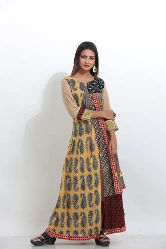 MULTICOLORED INDO-WESTERN LONG KURTI