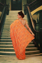Load image into Gallery viewer, ORANGE COLOUR SILK FANCY SAREE WITH CONTRASTING ALL OVER GOLDEN MOTIF WORK