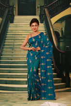 Load image into Gallery viewer, BLUE COLOUR SILK FANCY SAREE WITH CONTRASTING ALL OVER GOLDEN MOTIF WORK