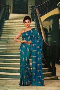 BLUE COLOUR SILK FANCY SAREE WITH CONTRASTING ALL OVER GOLDEN MOTIF WORK