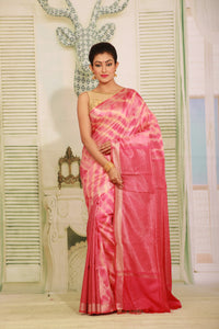 PINK COLOUR MUGA HAND - LOOM WITH ALL OVER CONTRASTING TIE AND DYE EFFECT
