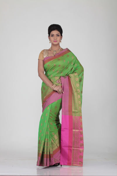 GREEN COLOUR CHANDERI SILK SAREE WITH CONTRASTING MULTILAYERED SATIN BORDER