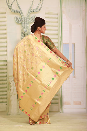 BEIGE COLOUR EPICAL KATAN SILK SAREE