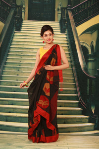 BLACK COLOUR COTTON HANDLOOM SAREE