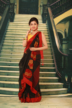 Load image into Gallery viewer, BLACK COLOUR COTTON HANDLOOM SAREE
