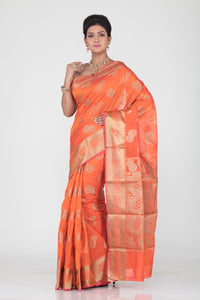 ORANGE  COLOUR SELF CHANDERI SILK SAREE WITH CONTRASTING GOLDEN MOTIF HIGHLIGHTED WEAVING
