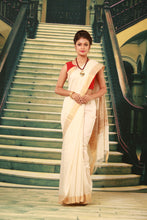 Load image into Gallery viewer, WHITE COLOUR PURE BHAGALPURI SILK HANDLOOM SAREE