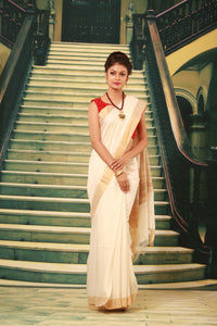 WHITE COLOUR PURE BHAGALPURI SILK HANDLOOM SAREE