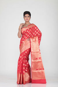 RED COLOUR SELF CHANDERI SILK SAREE WITH ALL OVER GOLDEN HIGHLIGHT