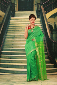 GREEN COLOUR MUGA HANDLOOM SILK SAREE