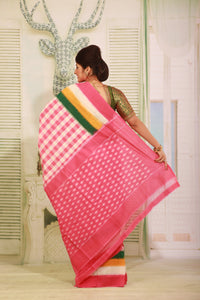 PINK COLOUR SAMBALPURI COTTON IKKAT SAREE WITH CONTRASTING TIE AND DYE WEAVING