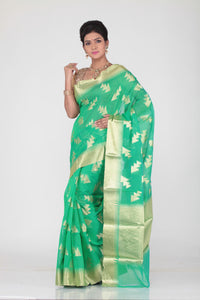 GREEN COLOUR CHANDERI SILK SAREE WITH GOLDEN WORK