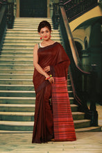 Load image into Gallery viewer, DARK MAROON COLOUR PURE BHAGALPURI SILK HANDLOOM SAREE