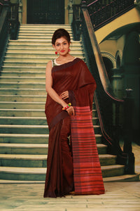 DARK MAROON COLOUR PURE BHAGALPURI SILK HANDLOOM SAREE