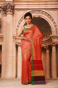 ORANGE COLOUR PURE BHAGALPURI SILK HANDLOOM SAREE