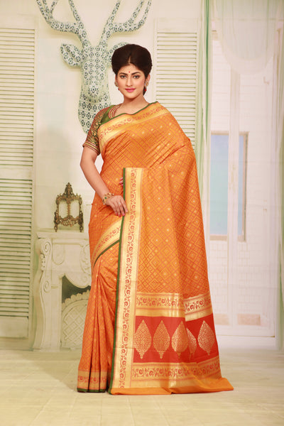 ORANGE COLOUR EPICAL KATAN SILK SAREE