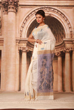 Load image into Gallery viewer, BLUE COLOUR DACCAI FINISH COTTON HANDLOOM SAREE