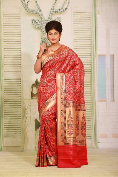RED COLOUR EPICAL KATAN SILK SAREE