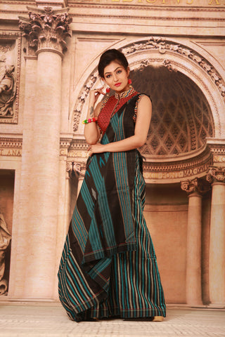 BLACK COLOUR PURE BHAGALPURI SILK HANDLOOM SAREE