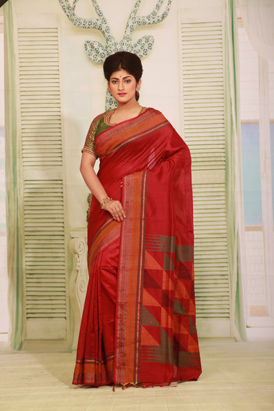 MAROON COLOUR MUGA HANDLOOM SAREE