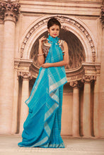 Load image into Gallery viewer, BLUE COLOUR PURE LINEN HANDLOOM SAREE