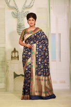 Load image into Gallery viewer, BLUE COLOUR EPICAL KATAN SILK SAREE