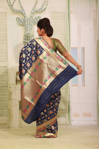 BLUE COLOUR EPICAL KATAN SILK SAREE