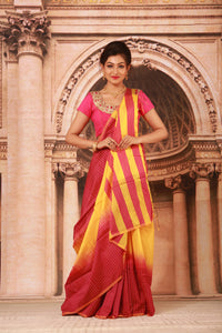 TWO COLOUR DYED COTTON HANDLOOM SAREE