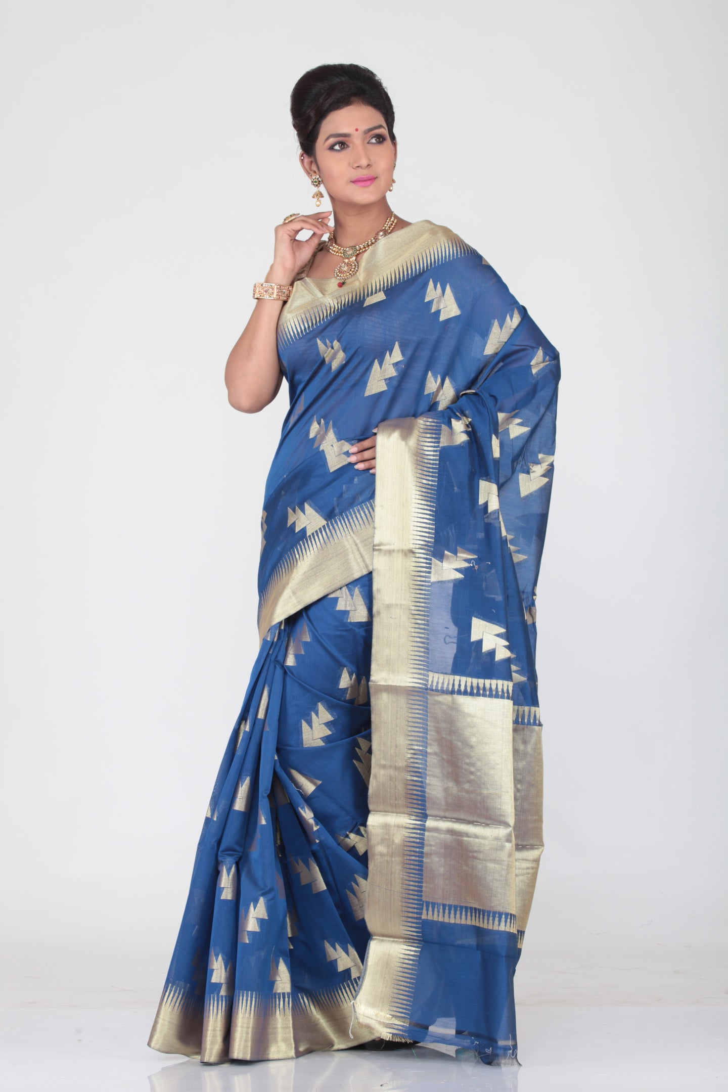 BLUE COLOUR CHANDERI SILK SAREE WITH GOLDEN WORK