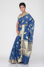 Load image into Gallery viewer, BLUE COLOUR CHANDERI SILK SAREE WITH GOLDEN WORK