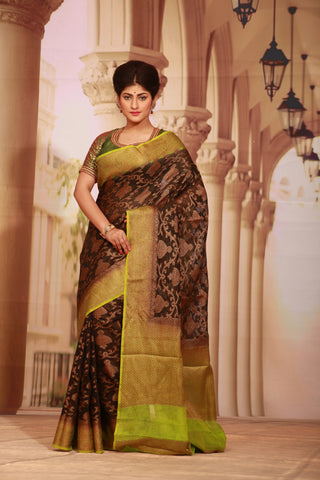 BLACK COLOUR GHICHA SILK SAREE WITH CONTRASTING GREEN COLOUR PALLU AND BORDER