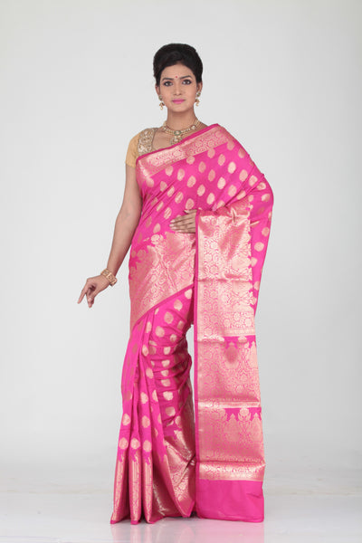 PINK COLOUR SELF CHANDERI SILK SAREE WITH ALL OVER GOLDEN HIGHLIGHT