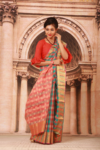 MULTICOLORED CHECKS COTTON HANDLOOM SAREE