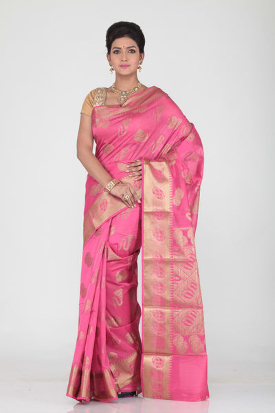 PINK COLOUR SELF CHANDERI SILK SAREE WITH CONTRASTING GOLDEN MOTIF HIGHLIGHTED WEAVING