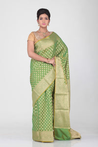 GREEN  COLOUR SELF BUTA CHANDERI SILK SAREE