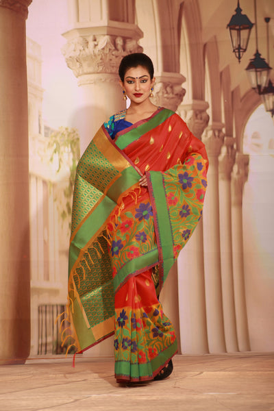 RED COLOUR MANIPURI SILK HANDLOOM WITH BEAUTIFUL MULTICOLORED FLORAL BORDER