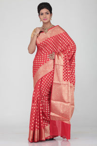 RED COLOUR SELF BUTA CHANDERI SILK SAREE