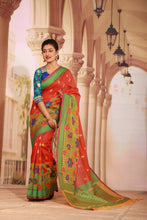 Load image into Gallery viewer, RED COLOUR MANIPURI SILK HANDLOOM WITH BEAUTIFUL MULTICOLORED FLORAL BORDER
