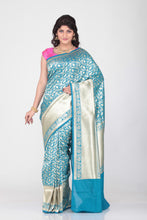 Load image into Gallery viewer, SELF OPARA KATAN SILK SAREE WITH SELF GOLDEN BORDER AND PALLU
