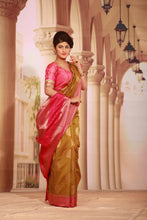 Load image into Gallery viewer, GOLDEN COLOUR GHICHA SILK SAREE WITH CONTRASTING ZARI WOVEN BORDER AND PALLU