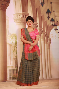 GREY COLOUR COTTON SILK SAREE WITH MULTILAYERED SATIN BORDER