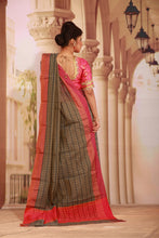 Load image into Gallery viewer, GREY COLOUR COTTON SILK SAREE WITH MULTILAYERED SATIN BORDER