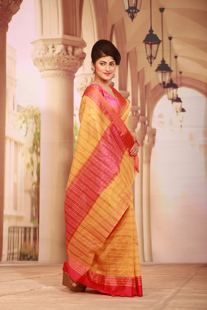 YELLOW COLOUR COTTON SILK SAREE WITH MULTILAYERED SATIN BORDER