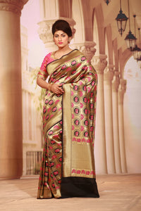 BLACK COLOUR BEAUTIFUL EPICAL KATAN SILK SAREE WITH ALL OVER FIGURE MOTIF WEAVING